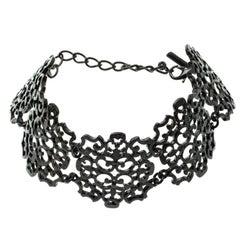 Oscar de la Renta Lace Filigree Black Coated Choker Necklace