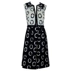 Oscar de la Renta *Larger Size* Black White Bead-Trim Shirtwaist Dress- L, 1960s