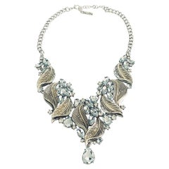 Oscar De La Renta Leaf and white diamante necklace