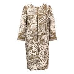 Oscar de la Renta Leather Appliqued and Silk Embroidered Lambskin Coat