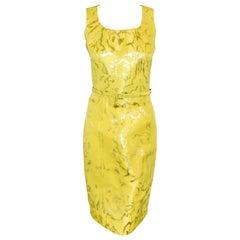 Oscar de la Renta Lemon Silver Brocade Cocktail Dress With Silver Threads