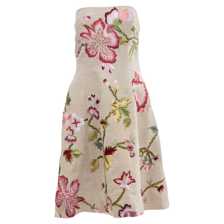 Oscar de La Renta Linen Silk Embroidered Strapless Dress, Circa: Early 2000s For Sale