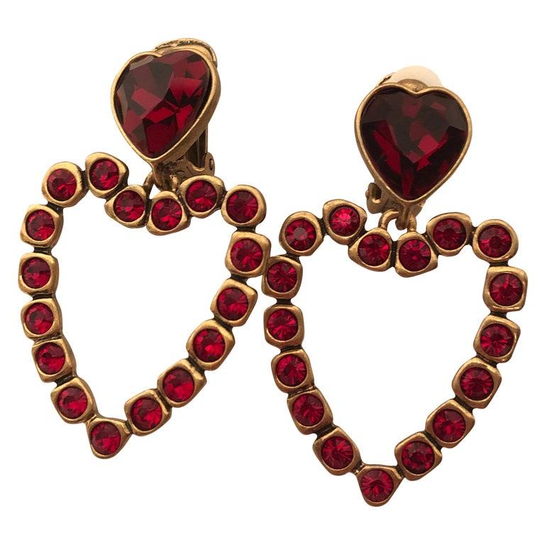 Oscar de la Renta Love Heart Earrings For Sale
