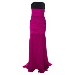 Oscar de la Renta Magenta Pink Silk Ruched Drop Waist Bodice Strapless Gown L
