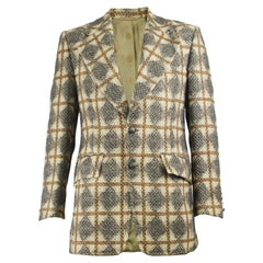 Oscar de la Renta Men's Vintage Patterned Wool Sport Coat Blazer Jacket, 1970s