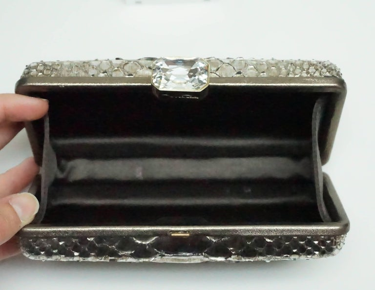 Women's or Men's Oscar De La Renta Metallic Python Box Clutch For Sale