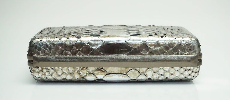 Oscar De La Renta Metallic Python Box Clutch For Sale 2