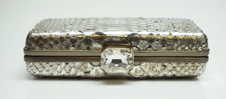 Oscar De La Renta Metallic Python Box Clutch For Sale 3