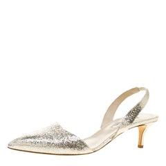 Oscar De La Renta Metallic Silver Crackled Leather Samie Slingback Sandals Size