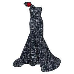 Oscar de la Renta Midnight Blue Printed Silk One Shoulder Asymmetric Hem Detail
