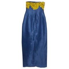 Oscar de la Renta Midnight Blue Silk Sequin Embellished Strapless Gown S