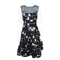 Oscar de la Renta Monochrome Mosaic Patterned Sheer Bodice Dress M