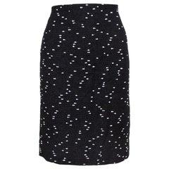 Oscar de la Renta Monochrome Tweed Fitted Short Skirt M