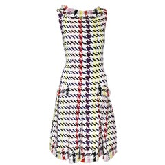 Oscar de la Renta Multi Color Tweed Fringe Dress W/ 2 Front Pockets