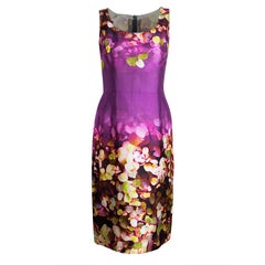 Oscar De La Renta Multicolor Digital Floral Print Sleeveless Dress L