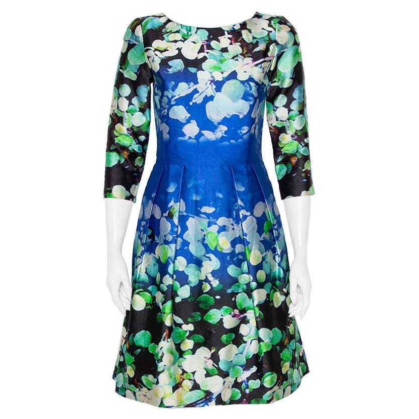 Oscar de la Renta Multicolor Floral Printed Silk & Cotton Sheath Dress S