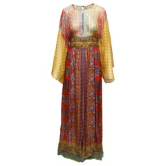 Oscar de la Renta Multicolor Printed Boho Maxi Dress