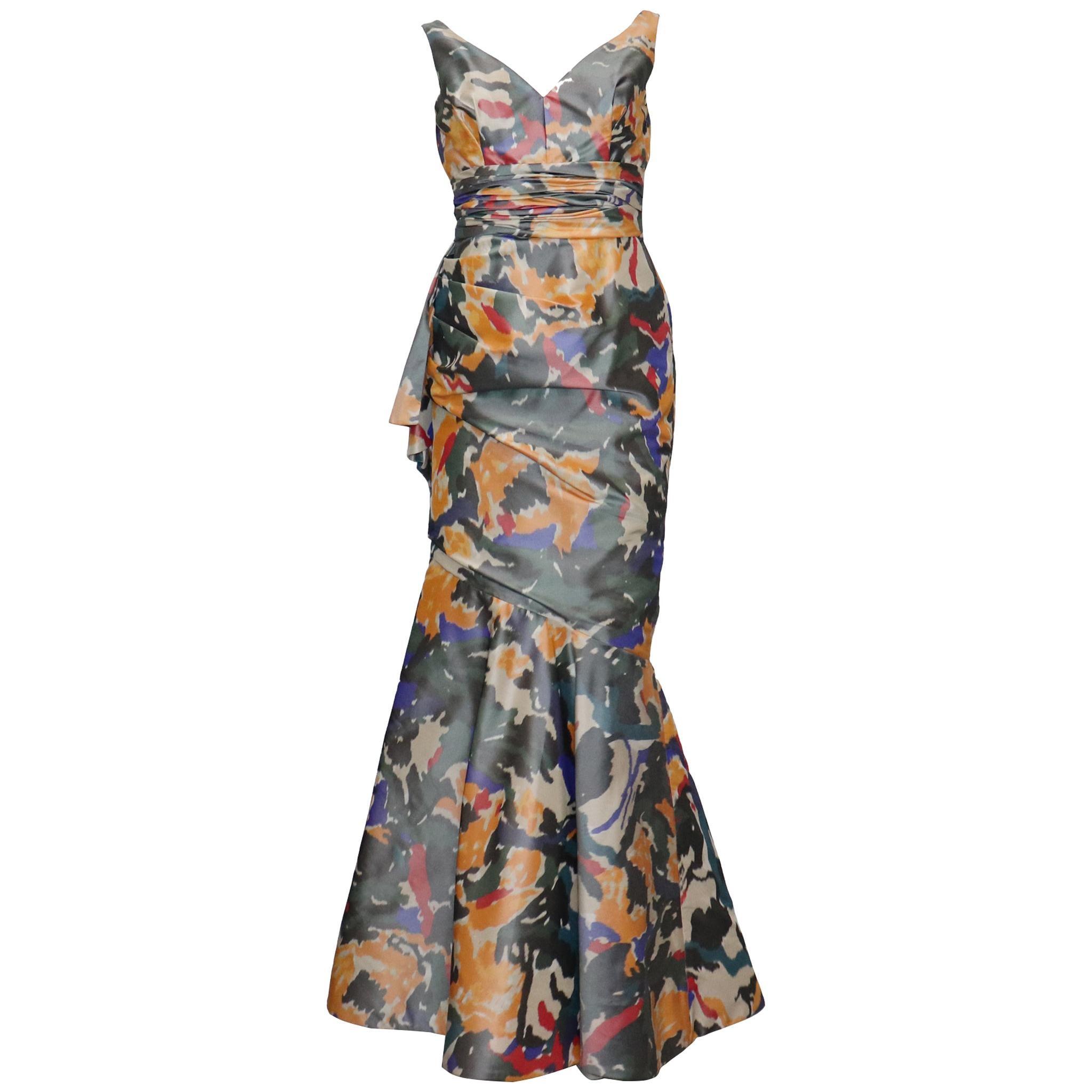 Oscar De La Renta Multicolor Warp Print Gown w/ Gathers