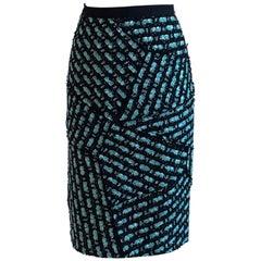 Oscar de la Renta Navy and Bright Blue Patchwork Tweed Pencil Skirt Resort 2012