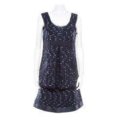 Oscar de la Renta Navy Blue Boucle Tweed Sleeveless Dress M
