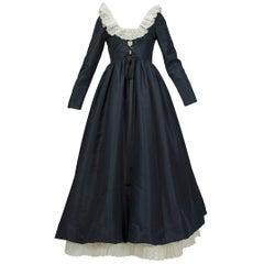 Oscar de la Renta Navy Silk Lacing-Bodice Elizabethan Revival Gown - Small, 1971