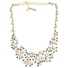 Oscar De La Renta Necklace of Grey pearls and black diamante