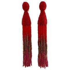 Oscar de la Renta New Red, Copper and Pink Tassel Beaded Earrings Clip On