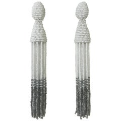 Oscar de la Renta New with Tags White and Silver Grey Tassel Earrings Clip On