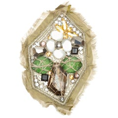 Oscar de la Renta Olive Green & Multicolor Embellished Brooch