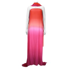 Oscar De La Renta Orange and Pink Ombre Chiffon Gown with Wrap