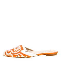 Oscar de la Renta Orange Embroidered Raffia Flat Mules Size 40