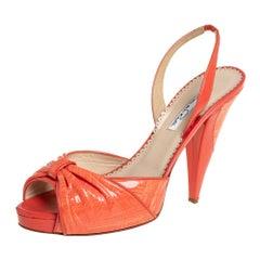 Oscar de la Renta Orange Patent Leather Slingback Sandals Size 39