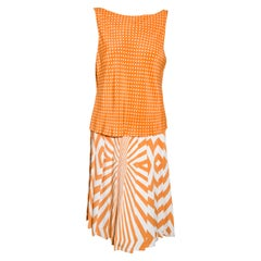 Oscar de la Renta Orange & White 2 Piece Dress Set