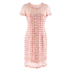 Oscar De La Renta Organza-Paneled Boucle-Tweed Dress size 6