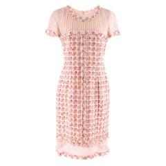 Oscar De La Renta Organza-Paneled Boucle-Tweed Dress - Size US 6