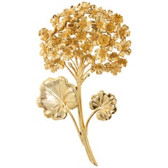 Oscar de la Renta Painted Geranium Bouquet Floral Gold Pin Brooch
