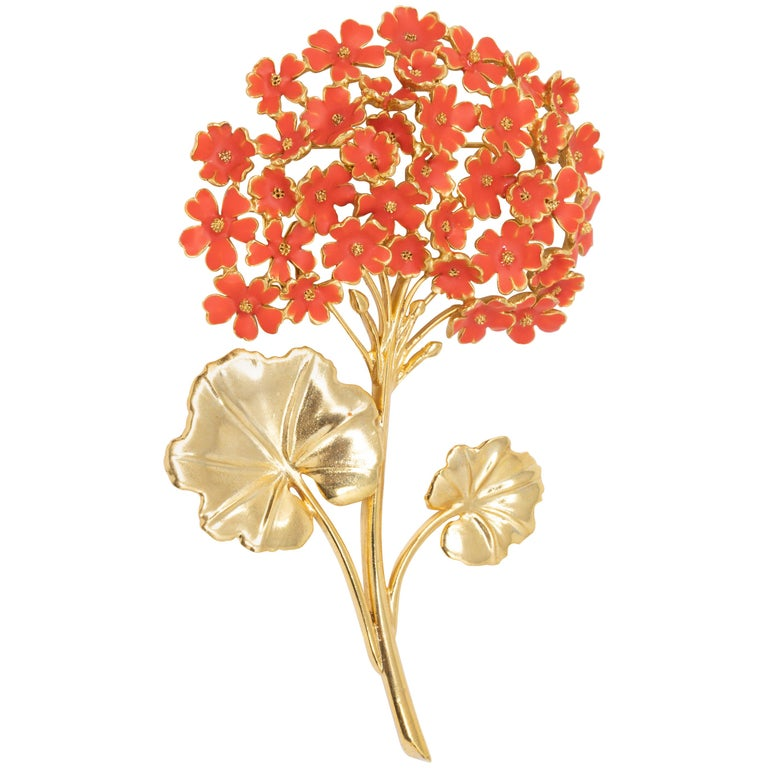 Oscar de la Renta Painted Cayenne Orange Geranium Bouquet Pin Brooch in Gold For Sale