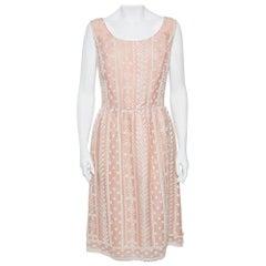 Oscar de la Renta Pale Pink Organza Silk Embroidered Sleeveless Dress XL