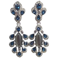 Oscar de la Renta Parlor Crystal Drop Clip On Earrings, Blue, Gray, Silvertone