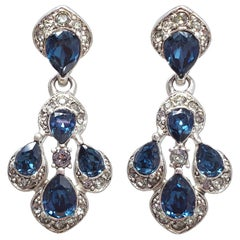 Oscar de la Renta Parlor Crystal Drop Post Back Earrings, Blue, Gray, Silvertone