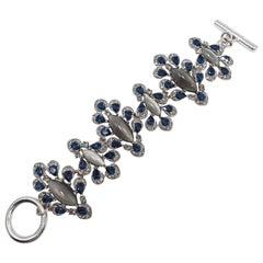 Oscar de la Renta Parlor Crystal Toggle Clasp Bracelet, Blue, Gray, Silvertone