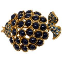 Oscar de la Renta Pave Blue Cabochon Embellished Fish Brooch, Pin in Gold