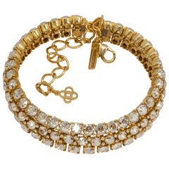 Oscar de la Renta Pave Clear Crystal Gold Choker Collar Necklace, Three Row