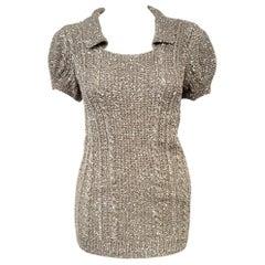 Oscar de la Renta Pewter Tone Short Sleeve Sequined Sweater Size Small