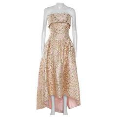 Oscar De La Renta Pink and Gold Brocade Strapless Asymmetrical Dress S
