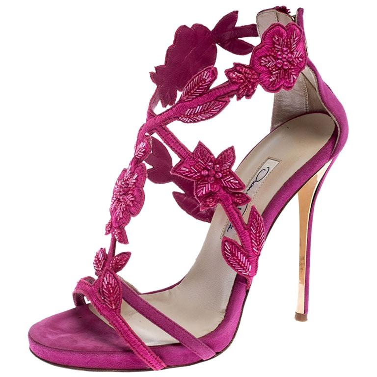 Oscar de la Renta Pink Suede Tatum Embellished T-Strap Sandals Size 37 For Sale