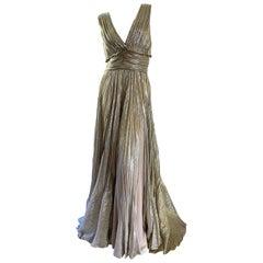 Oscar de la Renta Plunging Pleated Metallic Vintage Evening Dress