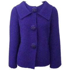 Oscar de la Renta Purple Alpaca Jacket with floral buttons-8