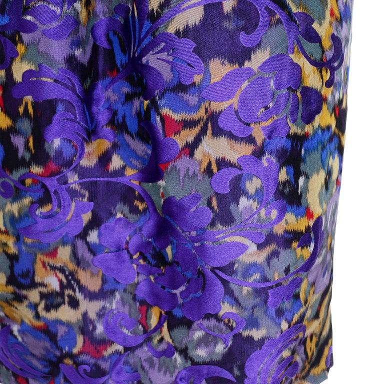 Oscar de la Renta Purple Floral Silk Runway Dress Fall 2007 For Sale 6