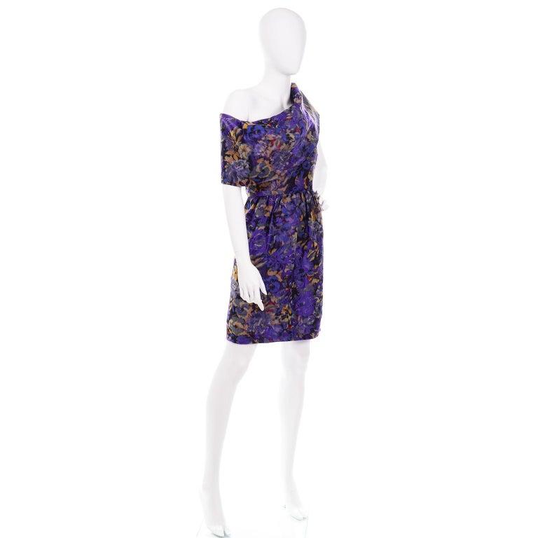 Women's Oscar de la Renta Purple Floral Silk Runway Dress Fall 2007 For Sale